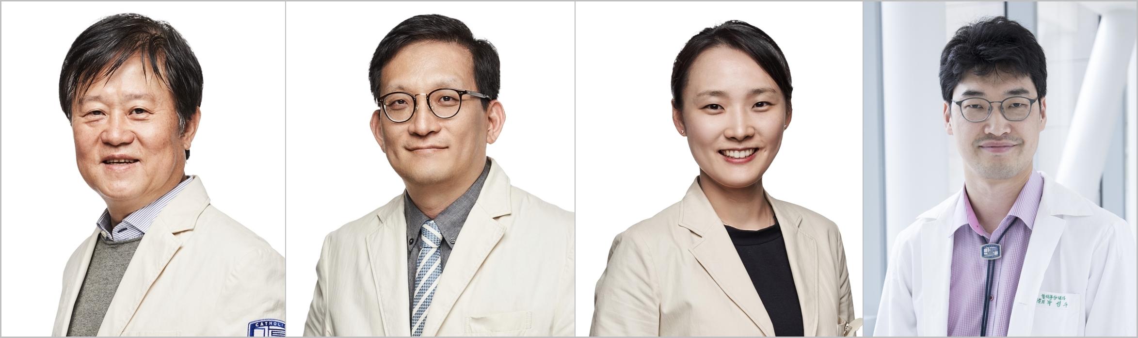 (왼쪽부터) 가톨릭대학교 서울성모병원 혈액병원장 김동욱 교수, 감염관리실장 이동건 교수, 감염내과 조성연 교수, 혈액내과 박성수 교수