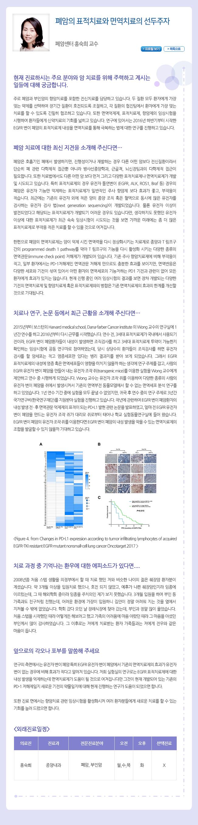 """""""폐암의 표적치료와 면역치료의 선두주자 홍숙희 교수"""