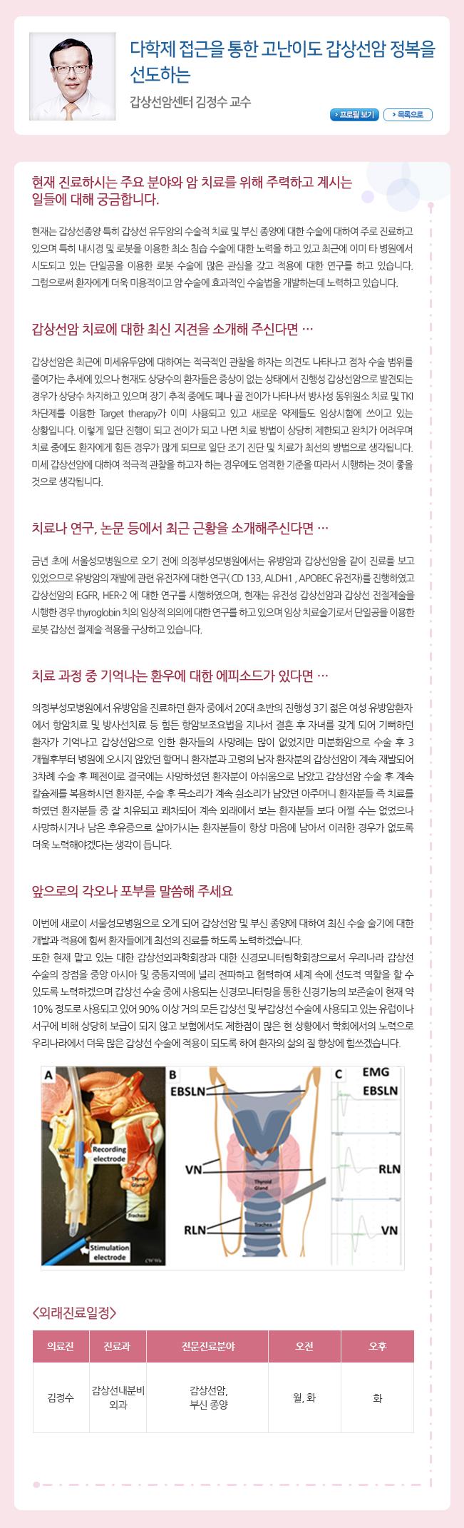 다학제 접근을 통한 고난이도 갑상선암 정복을 선도하는 갑상선암센터 김정수 교수
